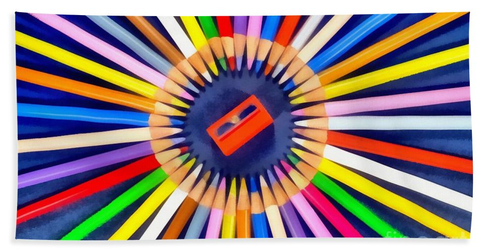 Pencil Hand Towel featuring the painting Colorful Pencils by George Atsametakis