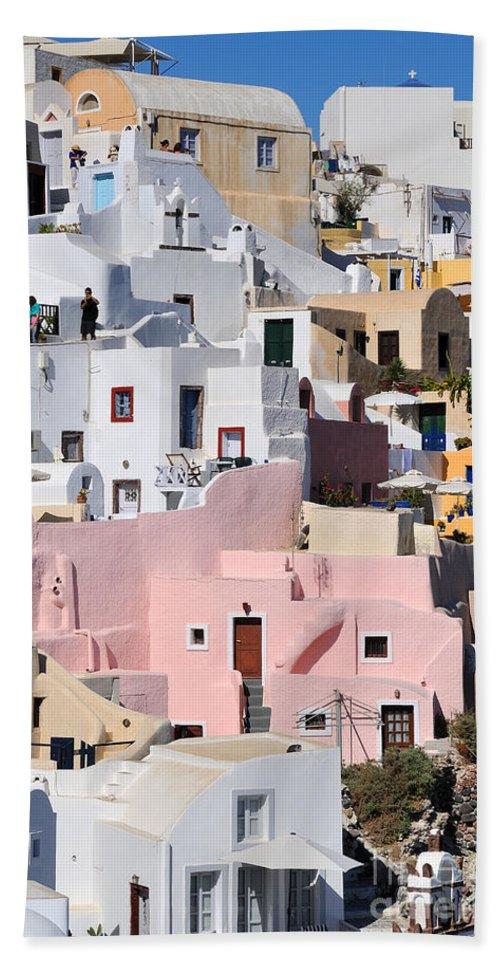 Santorini Bath Sheet featuring the photograph Colorful Oia by George Atsametakis
