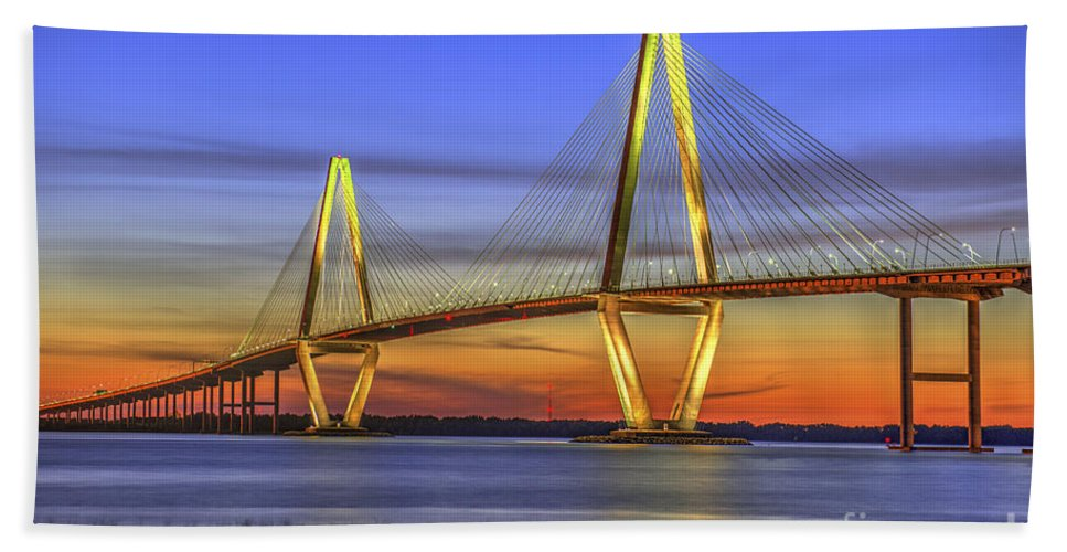 Charleston Hand Towel featuring the photograph Cooper River Bridge by Dale Powell