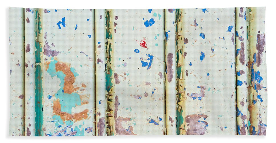 Abstract Bath Sheet featuring the photograph Corrugated Metal by Tom Gowanlock