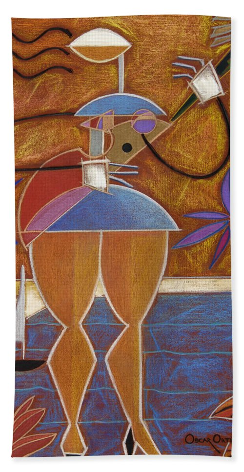 Colorful Bath Sheet featuring the painting Cuatro Caliente by Oscar Ortiz