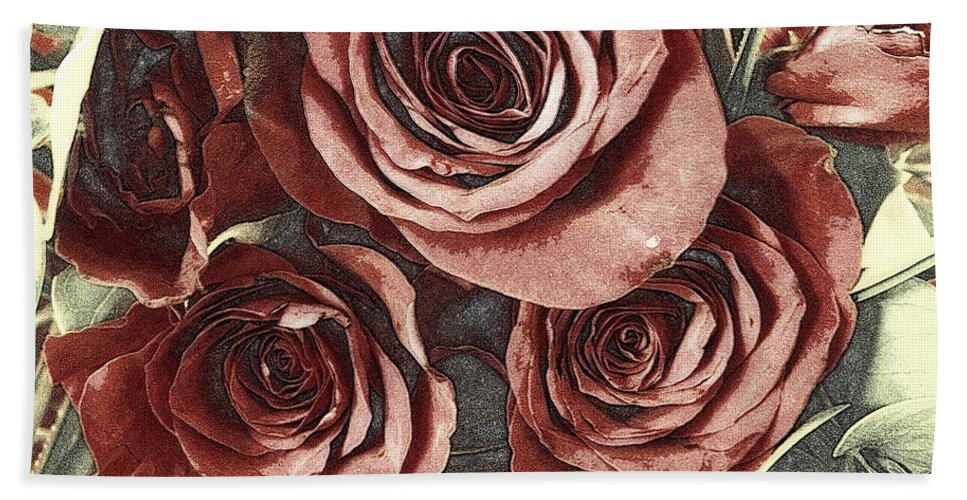 Bouquet Hand Towel featuring the photograph 3 D Red by Kathy Barney