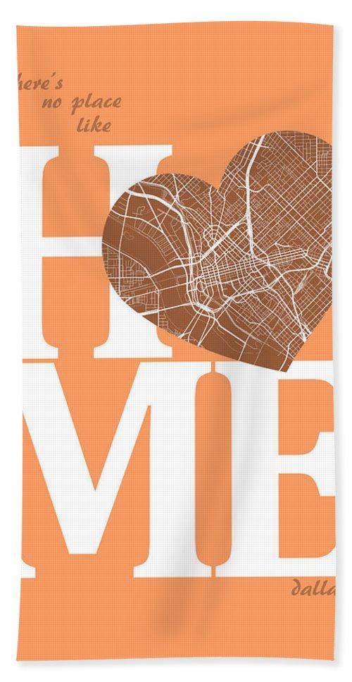 Road Map Hand Towel featuring the digital art Dallas Street Map Home Heart - Dallas Texas Road Map In A Heart by Jurq Studio