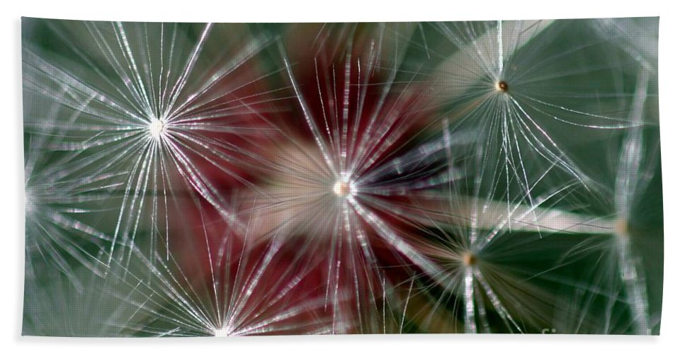 Abstract Hand Towel featuring the photograph Dandelion Seed Head by Henrik Lehnerer