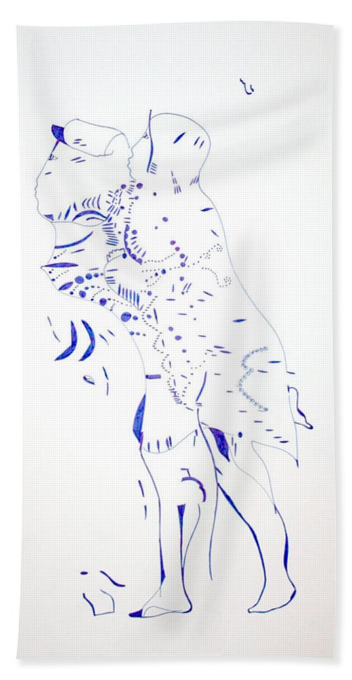 Jesus Hand Towel featuring the drawing Dinka Courtship - South Sudan by Gloria Ssali