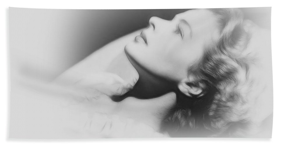 Ingrid Bergmann Swedish Actress Vintage American Beauty Dream Dreaming Portrait Female Woman Girl Erotic Pencil Drawing Sleep Face Bed Pillow Portrait Hand Towel featuring the painting Dreaming Of You by Steve K