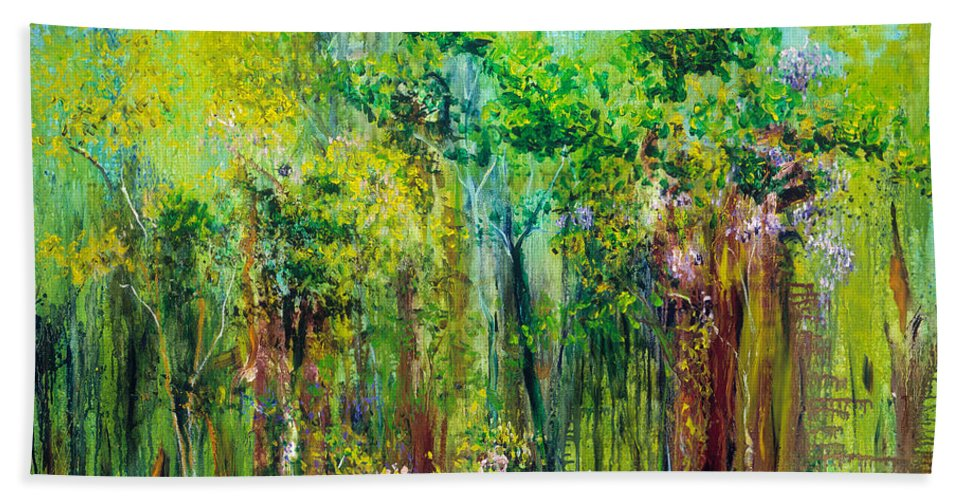 Forest Bath Sheet featuring the painting Edge Of Eden by Regina Valluzzi
