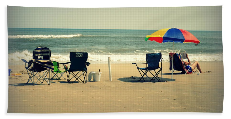 Feature Hand Towel featuring the photograph 3 Empty Beach Chairs by Paulette B Wright