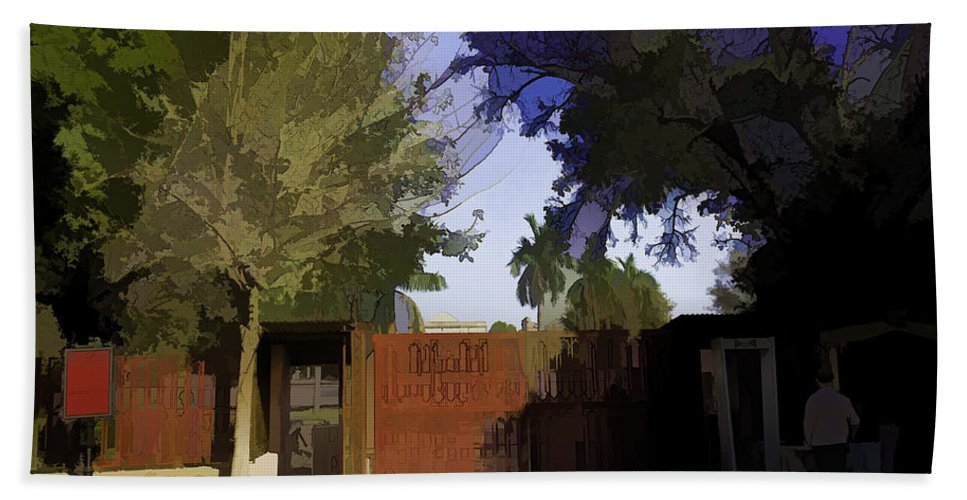 Action Hand Towel featuring the digital art Entrance Gate Of Humayuns Tomb In Delhi by Ashish Agarwal