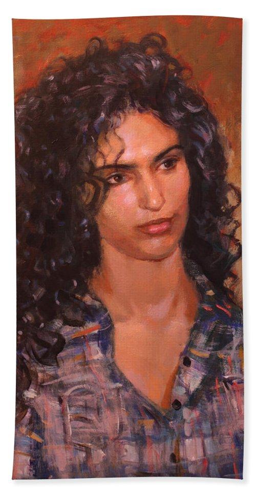 Portrait Bath Sheet featuring the painting Erbora by Ylli Haruni