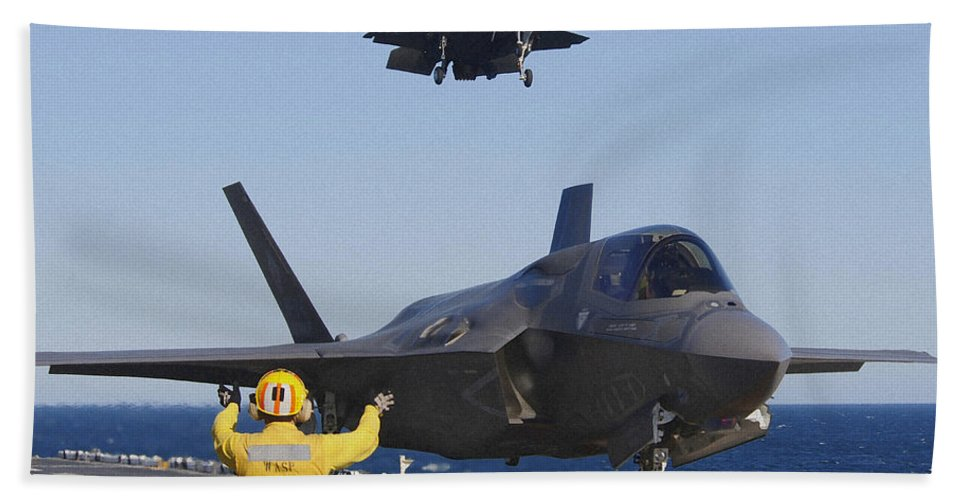 Maritime Hand Towel featuring the photograph F-35b Lighnting II Variants Land Aboard by Stocktrek Images