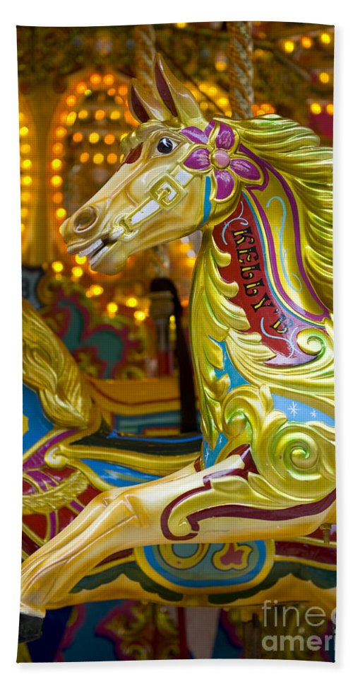 Amusement Hand Towel featuring the photograph Fairground Carousel by Lee Avison