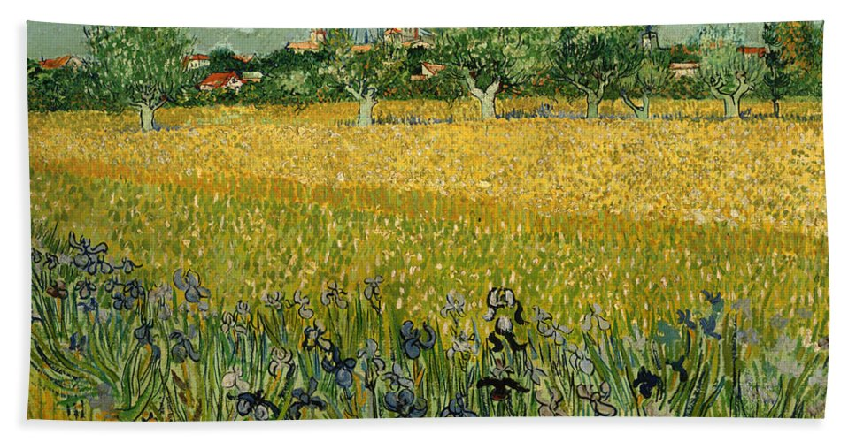 Painting Bath Sheet featuring the painting Field With Flowers Near Arles by Mountain Dreams