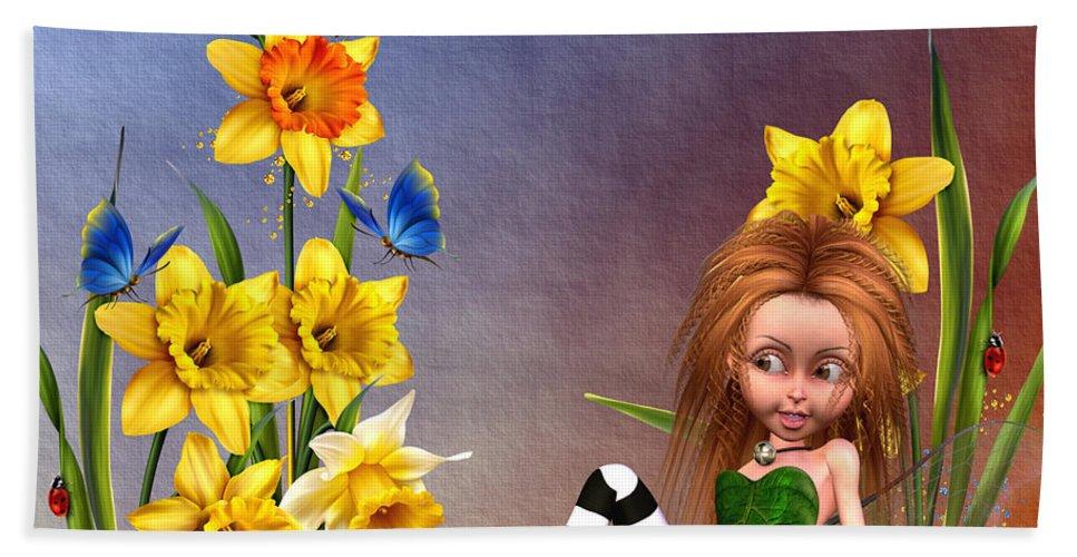 Forest Fairy In The Garden Hand Towel featuring the digital art Forest Fairy In The Garden by John Junek