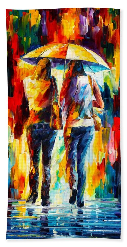 Afremov Hand Towel featuring the painting Friends Under The Rain by Leonid Afremov