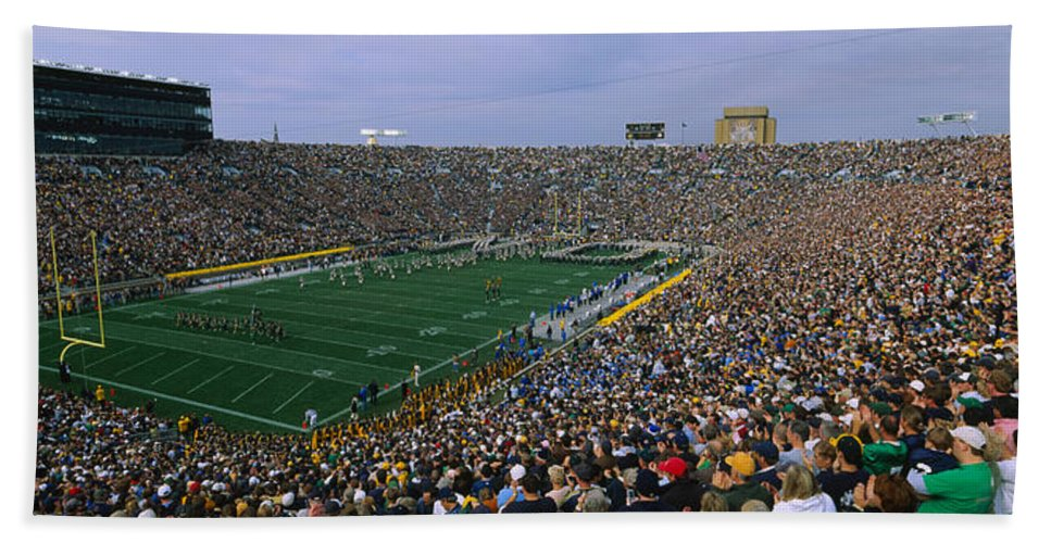 Photography Hand Towel featuring the photograph High Angle View Of A Football Stadium by Panoramic Images