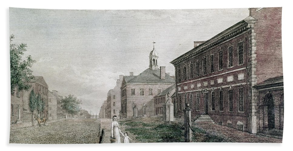 1798 Hand Towel featuring the photograph Independence Hall, 1798 by Granger