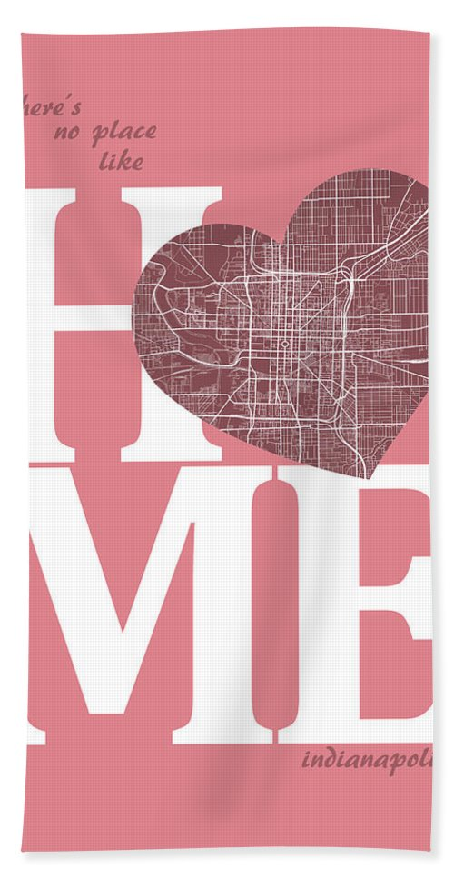 Road Map Bath Sheet featuring the digital art Indianapolis Street Map Home Heart - Indianapolis Indiana Road M by Jurq Studio