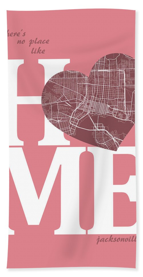 Road Map Hand Towel featuring the digital art Jacksonville Street Map Home Heart - Jacksonville Florida Road M by Jurq Studio