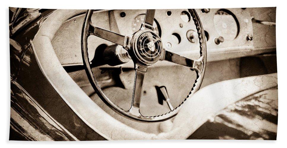 Jaguar Steering Wheel Hand Towel featuring the photograph Jaguar Steering Wheel by Jill Reger