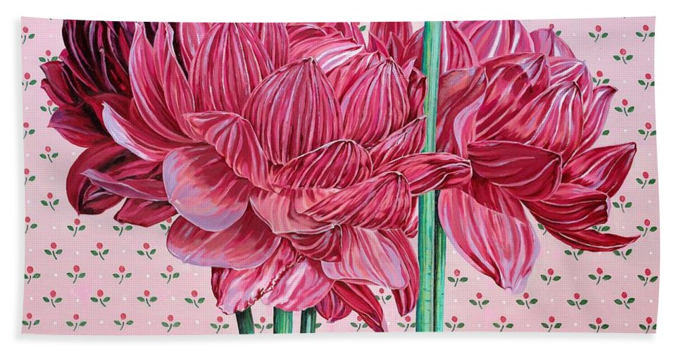 Large Sized Close Up Look At Pink Dalias. Pink Flowers Hand Towel featuring the painting JAN by John Wilson