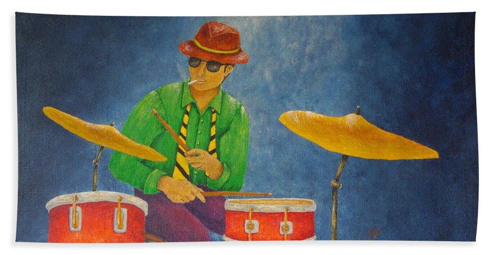 Pamela Allegretto-franz Bath Sheet featuring the painting Jazz Drummer by Pamela Allegretto