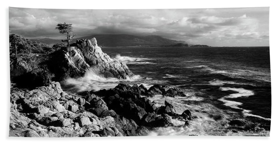 Photography Bath Sheet featuring the photograph Lone Cypress On The Coast, Pebble by Panoramic Images