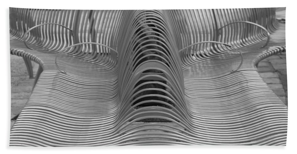 Abstract Hand Towel featuring the photograph Metal Strips In Black And White by Rob Hans