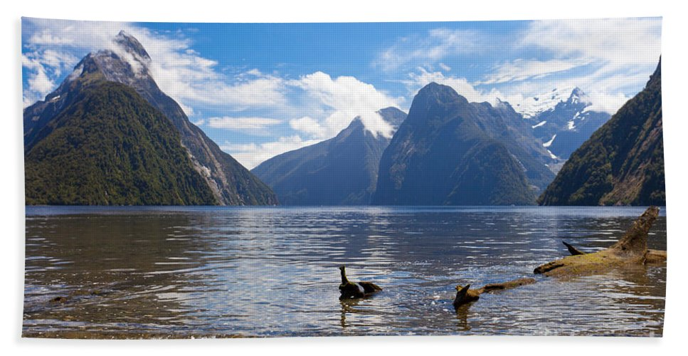 Mount Hand Towel featuring the photograph Milford Sound And Mitre Peak In Fjordland Np Nz by Stephan Pietzko