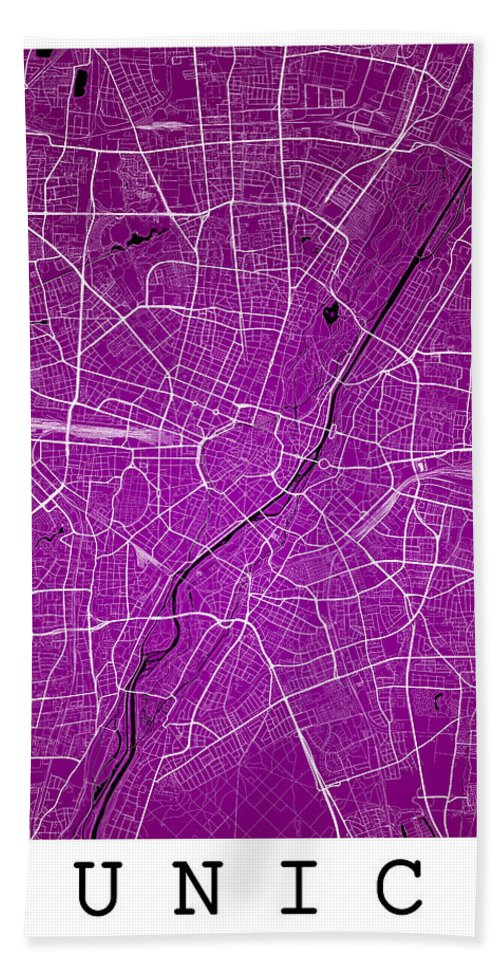 Road Map Hand Towel featuring the digital art Munich Street Map - Munich Germany Road Map Art On Colored Backg by Jurq Studio