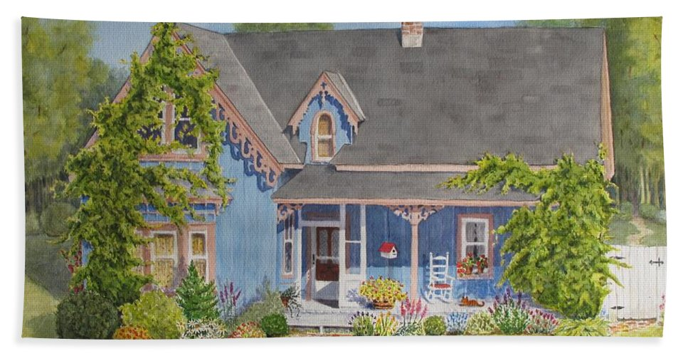 Canada Hand Towel featuring the painting My Blue Heaven by Mary Ellen Mueller Legault