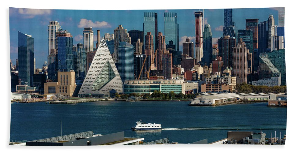 Photography Bath Sheet featuring the photograph New York City Skyline As Seen by Panoramic Images