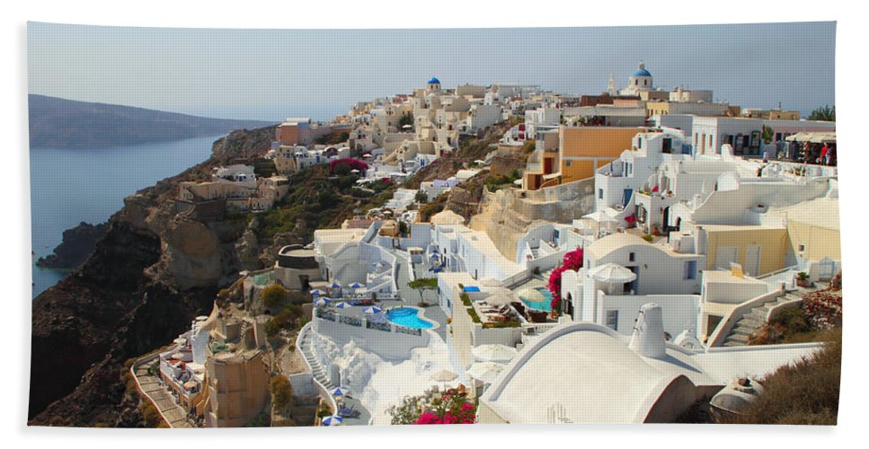 Oia Santorini Greece Bath Sheet featuring the photograph Oia Village Santorini Greece by Carole-Anne Fooks