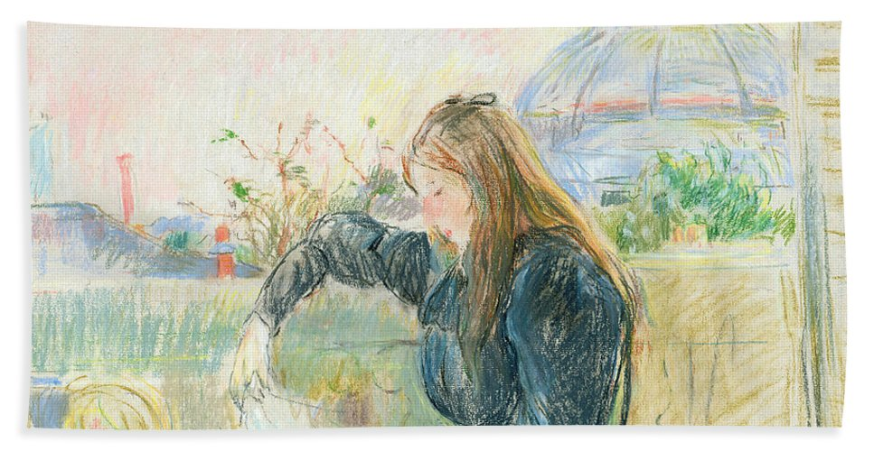 Female; Seated; Reading; Newspaper; Half Length; Profile; Drawing; Relaxed; Relaxing; Informal; Rooftops; Dome; Girl; Young; Letter; Pastel Bath Sheet featuring the painting On The Balcony by Berthe Morisot