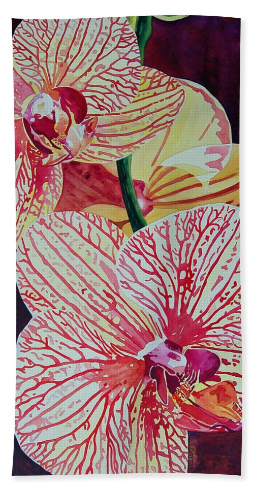 Orchids Hand Towel featuring the painting Orchids by Terry Holliday