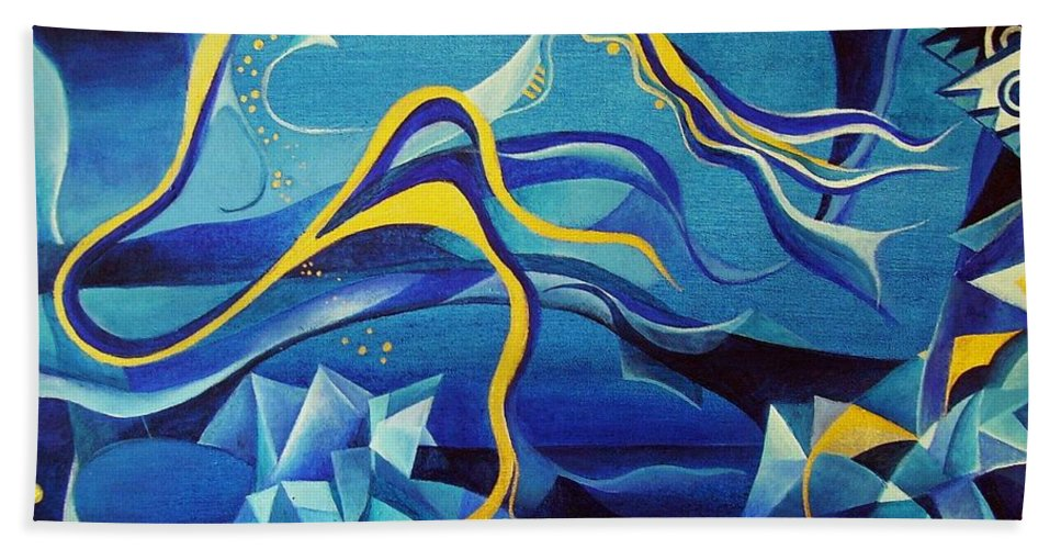 Orpheus Eurydike Greek Mth Claudio Monteverdi Music Abstract Acrylic Hand Towel featuring the painting Orpheus And Eurydike by Wolfgang Schweizer