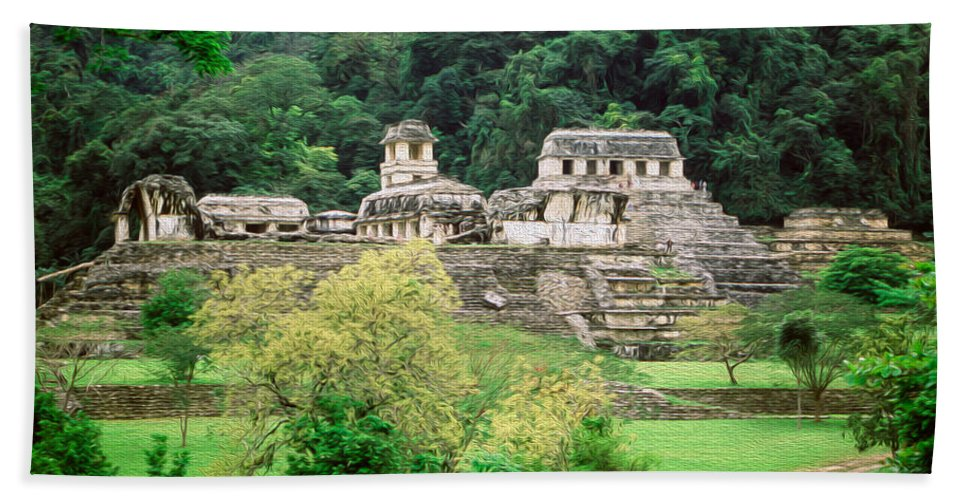 America Hand Towel featuring the digital art Palenque City by Roy Pedersen