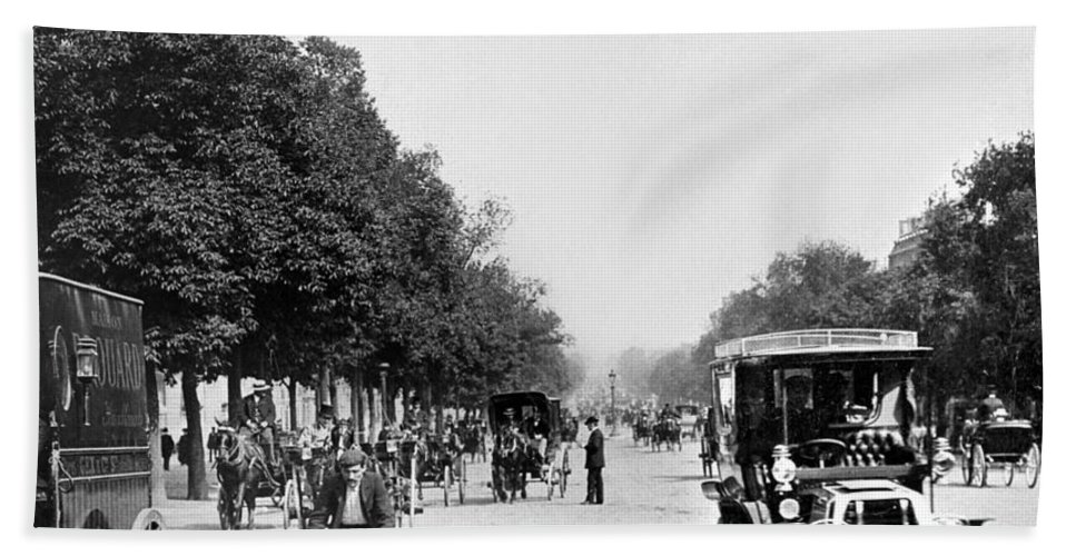1903 Bath Sheet featuring the photograph Paris Champs Elysees by Granger