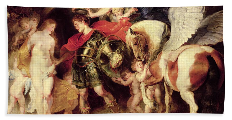 Pegasus Hand Towel featuring the painting Perseus Liberating Andromeda by Peter Paul Rubens