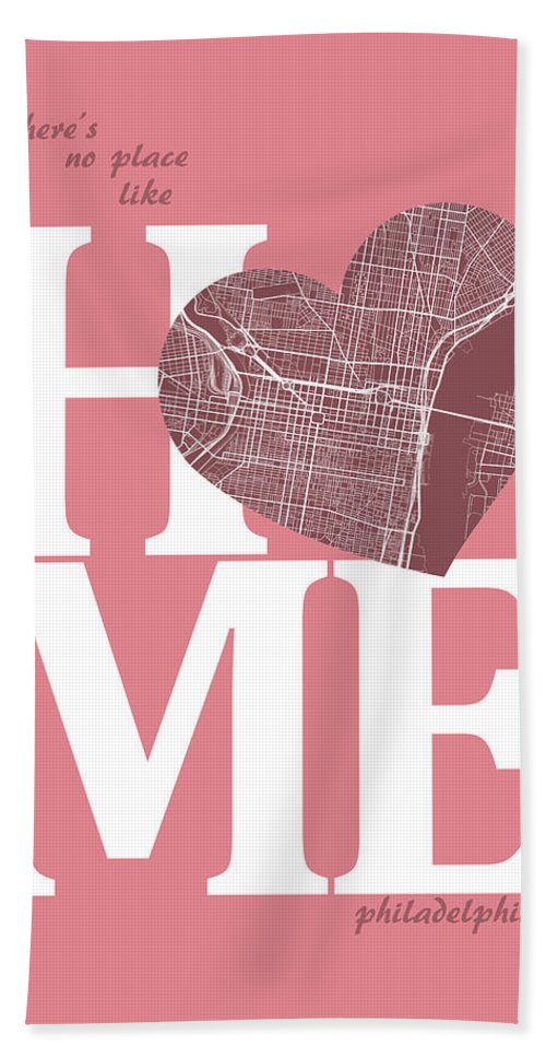 Road Map Hand Towel featuring the digital art Philadelphia Street Map Home Heart - Philadelphia Pennsylvania R by Jurq Studio