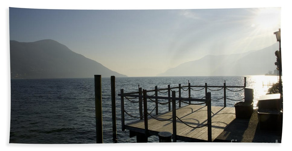 Pier Hand Towel featuring the photograph Pier In Backlight by Mats Silvan