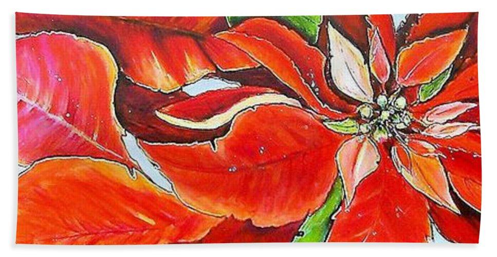 Jaxine Cummins Bath Sheet featuring the painting Poinsettias by JAXINE Cummins