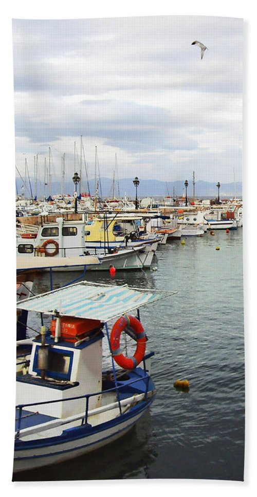 Port Of Aegina Bath Sheet featuring the photograph Port Of Aegina by Ellen Henneke
