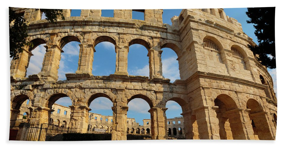 Photography Bath Sheet featuring the photograph Pula, Istria County, Croatia. The Roman by Panoramic Images