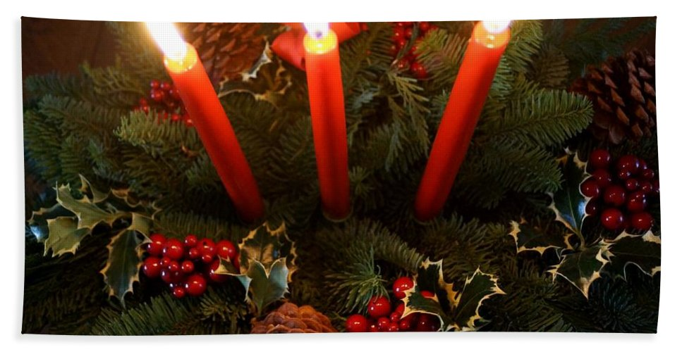 Centerpiece Hand Towel featuring the photograph 3 Red Candles by Kerri Mortenson
