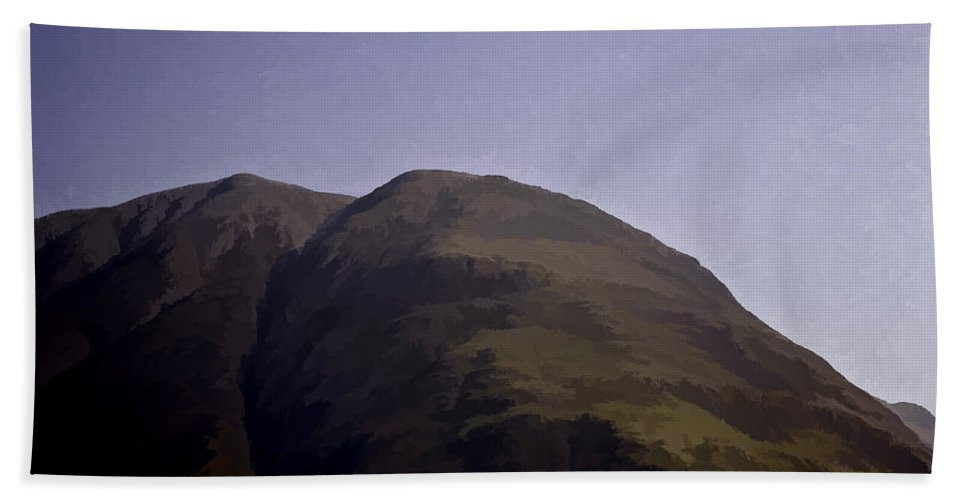 Blue Sky Bath Sheet featuring the photograph Rocky Hill In The Scottish Highlands by Ashish Agarwal