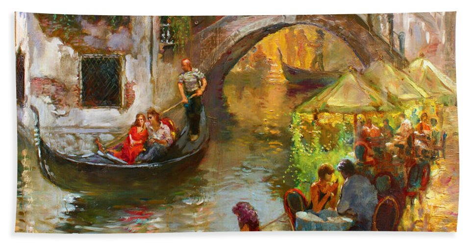Romance Bath Towel featuring the painting Romance In Venice by Ylli Haruni