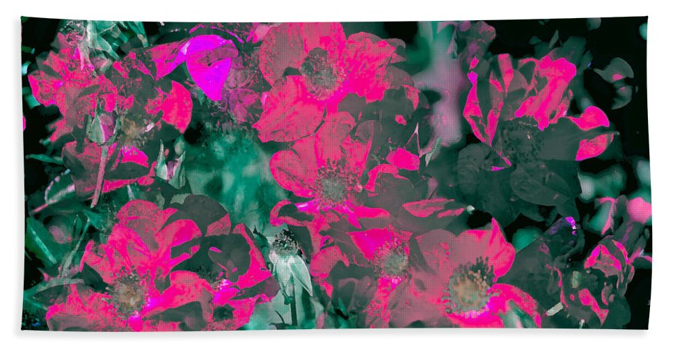 Abstract Bath Sheet featuring the photograph Rose 72 by Pamela Cooper