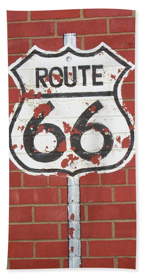 66 Bath Sheet featuring the photograph Route 66 Shield by Frank Romeo