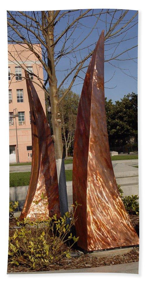 Copper Sculpture Bath Sheet featuring the sculpture Rustic Embrace by Peter Piatt